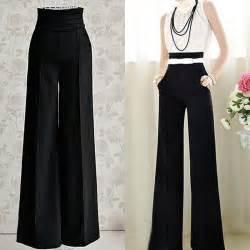 Casual high waist flare wide leg long pants palazzo trousers ebay