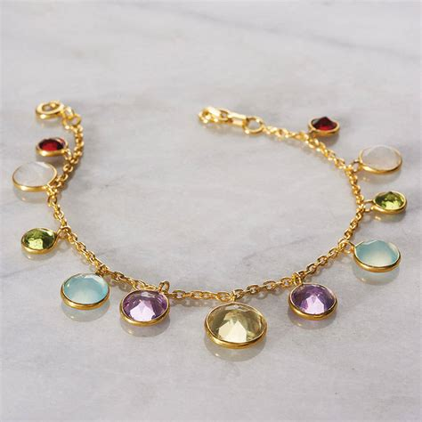 rainbow charm bracelet by pomegranate notonthehighstreet