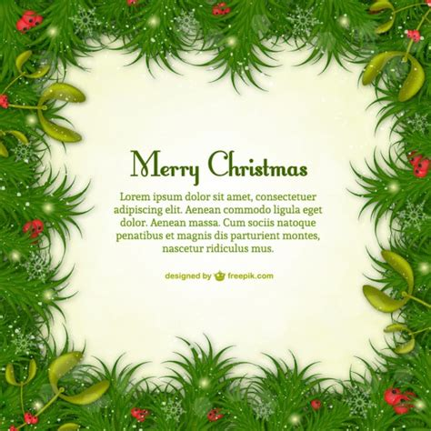merry christmas template with green leaves vector free