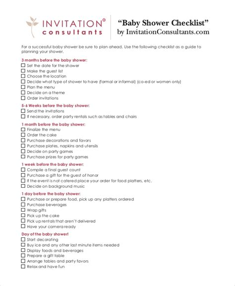 Baby Shower Checklist 5 Free Pdf Psd Documents Download Free Premium Templates Baby Shower Checklist Template