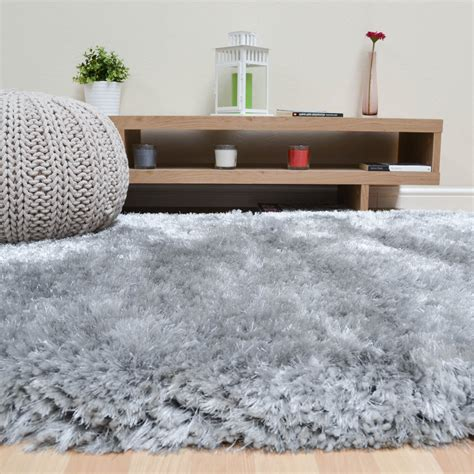 Large Silver Rug by Plush Shaggy Rugs In Silver Free Uk Delivery The Rug