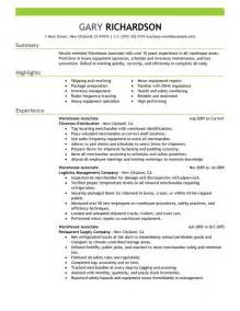 free warehouse associate resume sle free resume templates