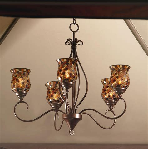 Garden Oasis Mosaic Votive Hanging Chandelier Votive Candle Chandelier