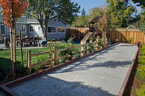 backyard bocce bridges landscaping