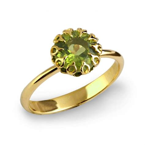 Ring Peridot crown 14k gold peridot ring unique peridot engagement ring large peridot ring gold statement
