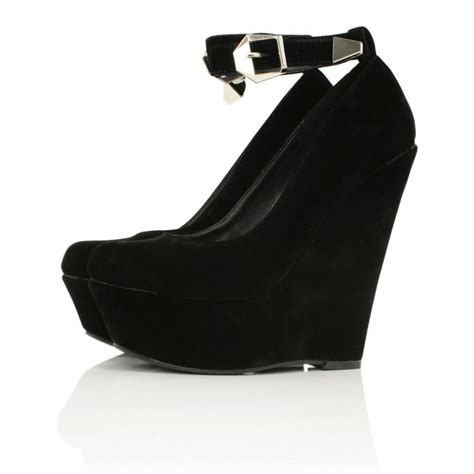 buy majestyk wedge heel platform shoes black suede style