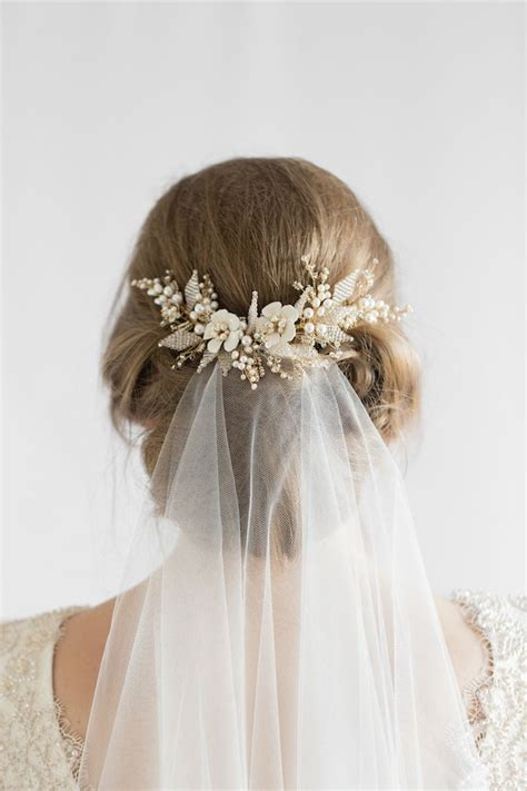 Wedding Hair With Veil And Headpiece by Floral Wedding Hair Comb Hair Hair