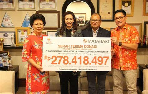 Yayasan Obor Litigasi Korporasi Corporate Litigation matahari serahkan donasi pelanggan kepada yayasan obi beritasatu