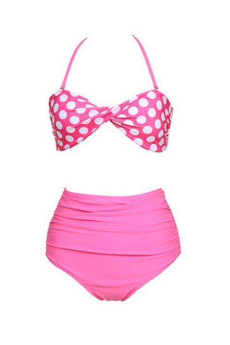 Swimsuit Import My Pony Polkadot pink polka dot swimsuit top high waisted swimwear