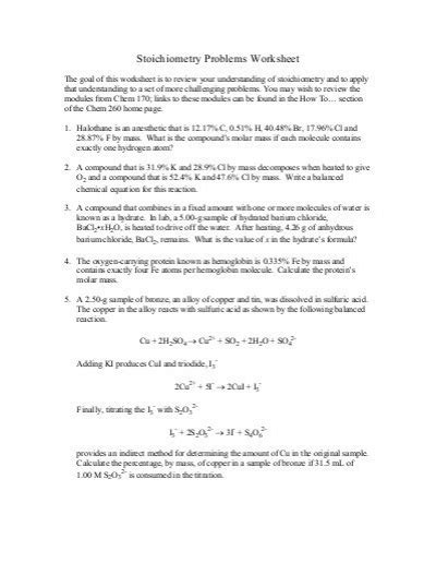 Stoichiometry Practice Worksheet by Stoichiometry Problems Worksheet