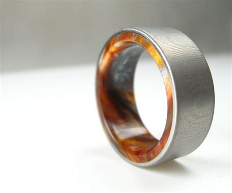 Mens Handmade Wedding Bands - buy a handmade titanium wood tone burl mens wedding band
