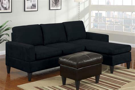 modern small black microfiber sectional sofa reversible