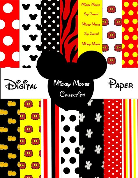 printable mickey mouse digital paper files by