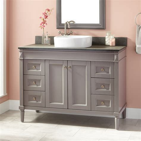 Grey Bathroom Vanity 48 Quot Chapman Vessel Sink Vanity Gray Vessel Sink Vanities Bathroom Vanities Bathroom