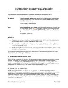 Partnership Break Letter partnership dissolution agreement template amp sample form