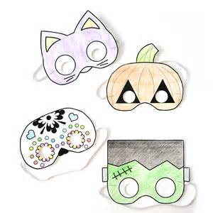 halloween masks print color autumn