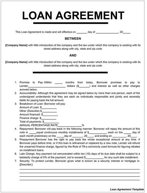 loan agreement 40 free loan agreement templates word pdf template lab