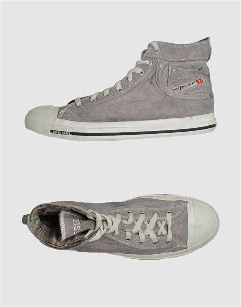 grey high top sneakers diesel high top sneakers in gray for grey lyst