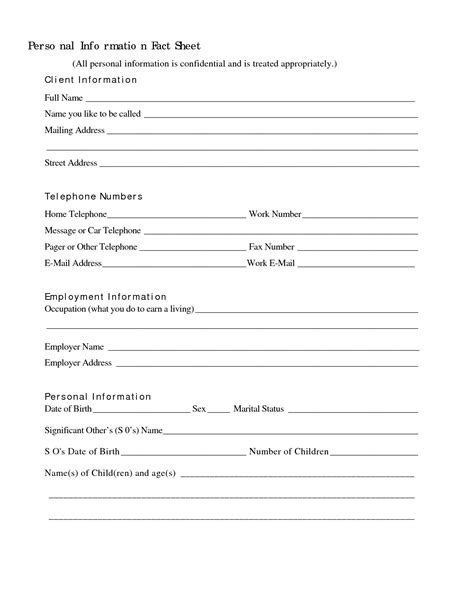Basic Personal Information Form Template Pictures To Pin On Pinterest Pinsdaddy Personal Templates