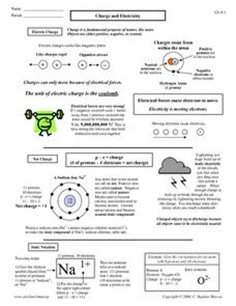 static electricity review worksheet answers charge and electricity 7th 12th grade worksheet lesson planet