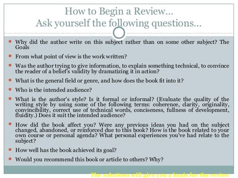 questions to ask for a book report writing a book review
