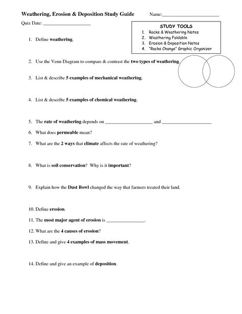 Weathering Erosion And Deposition Worksheet by 16 Best Images Of Weathering And Erosion Worksheets With