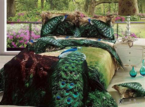 peacock bed set 3d green peacock bird feather print bedding set queen size