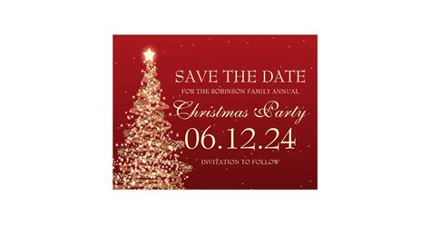 elegant save the date christmas party red postcard zazzle