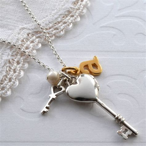 Silver Locket Key Necklace sterling silver key to my locket by martha jackson