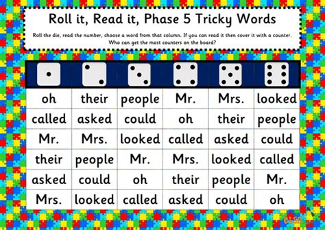 printable phonics games phase 5 roll it read it phonics games phases 2 5 tricky words by
