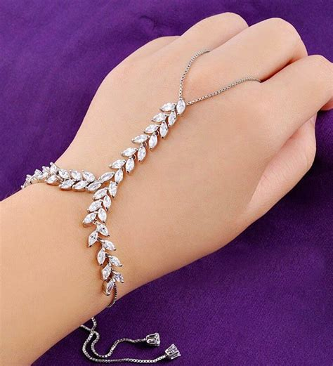 Hand Wrap/Hand Chain Bracelet   Diamond Slave Bracelet   Hand Cuff   Hand Cuff  Slave Ring