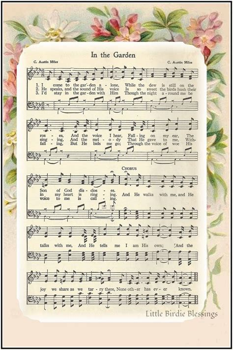 printable lyrics in the garden free printable hymns for piano video search engine at