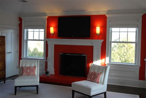 feature wall with fireplace bedroom new york by