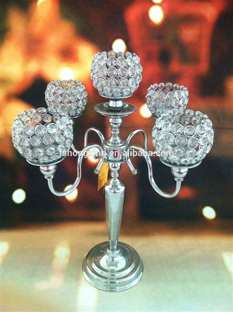 Table Candle Holders Centerpieces 5arms Wedding Globe Candelabra Centerpiece