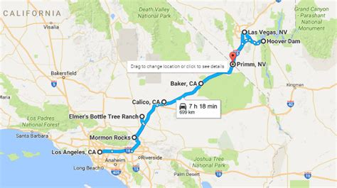 map of los angeles and las vegas road trip los angeles to las vegas must see attractions
