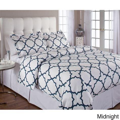 quatrefoil cotton 3 piece duvet cover set