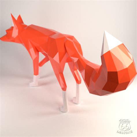 3d Origami Fox - diy fox papercraft fox fox design bundles