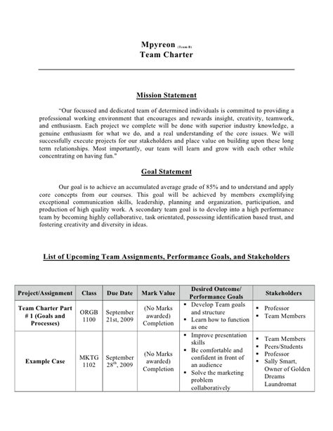 team charter template word orgb team charter 1