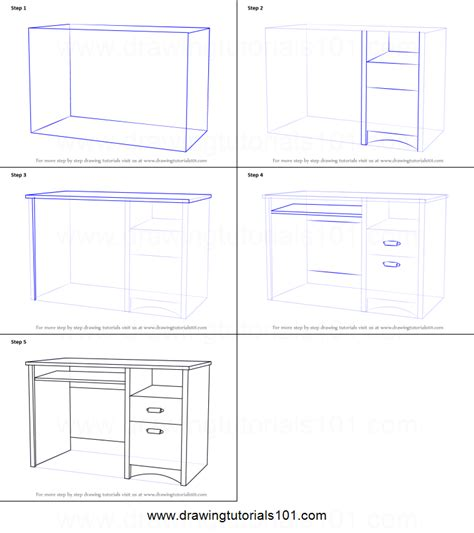How To Draw A Desk Step By Step by How To Draw A Computer Desk Printable Step By Step Drawing