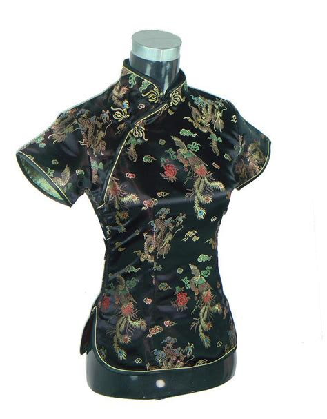pattern chinese shirt vintage black chinese traditional silk satin blouse women