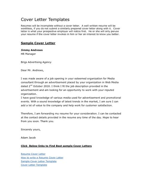free sle cover letters for resume style sle free cover letter templates recentresumes