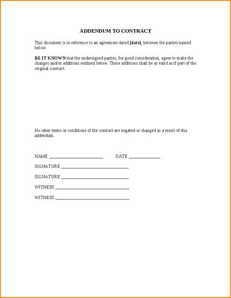 addendum letter format 8 addendum to contract form a cover letters