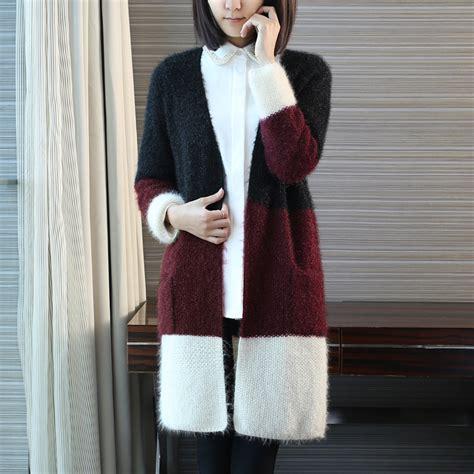 Cardigan Korea korean style v neck mohair crochet cardigan for sleeve pocket open chest sweater in