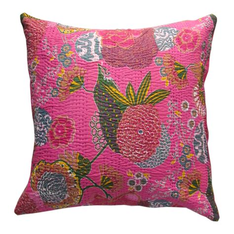 24 quot pink color indian kantha thread floral cotton cushion
