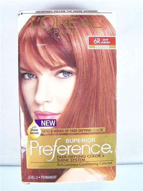 loreal auburn hair color l oreal superior preference hair color 6r light
