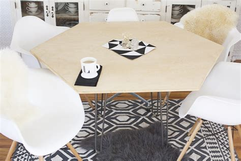 hexagon shaped kitchen table diy hexagonal dining table hello lidy
