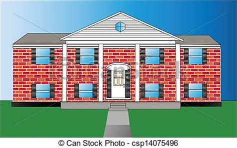 How To Draw House Plans Free eps vectors of big brick house vector illustration of