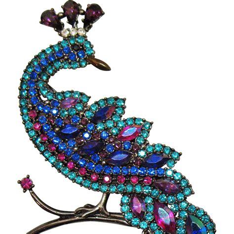 Peacock Brooch avon hostess gift vintage magnificent peacock brooch