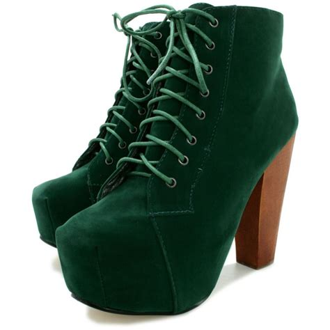 green boots buy block wooden heel concealed platform ankle