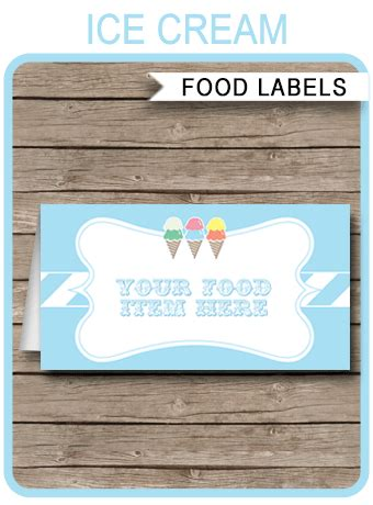 ice cream party food labels place cards ice cream